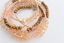 Swarovski Elements Crystals Wraparound Rose Gold Bracelet Champagne