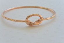 Rose Gold Knot Bracelet Diamond Cut Accent