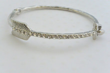 Rhinestone Embellished Arrow Bangle Bracelet in Silver Tone