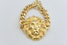 Versace Inspired Lions Head Link Bracelet Gold Tone