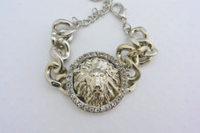 Versace Inspired Lions Head Rhinestone Embellished Link Bracelet Silver Tone