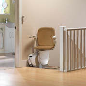 Swivel to face the top landing, (if space allows) your stairlift can continue on the top landing.