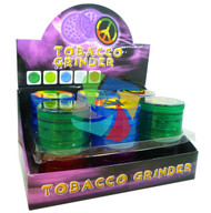 Assorted Colours & Printed Design 4 part Acrylic Grinders - 12 pack (GR032)