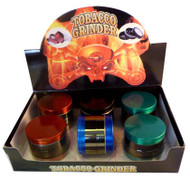 4 PART ASSORTED COLOURS CHROME BODY METAL GRINDERS (6 PER BOX) (SKU: GR026)