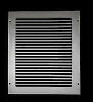 "Custom Pro-Linear Return Vent Cover (Silver) - 12""L x 14""W opening size (14""L x 16""W overall) With mounting holes, with filter frame"