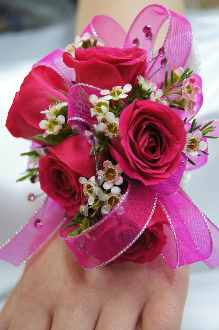 hot pink  rose wrist corsage  soderbergs floral and gift, Natural flower