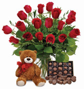 Classic Red Roses, Teddy Bear and Chocolates