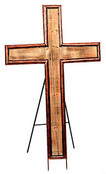 Large Wood/Metal Cross with Easel