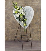 Metal Embossed Heart Easel With Fresh Flowers