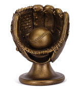 Bronze Baseball Glove on Stand