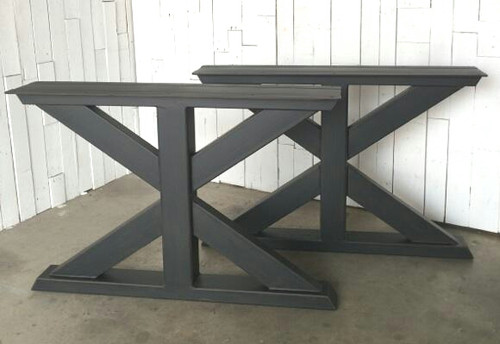 welds carefully so just table pin there steel welded or legs that need a is counter are industrial x clean smooth thick wood nice shape top slab metal contemporary