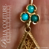 SOLD! - (ANTIQUE) Rare Victorian Gorgeous Genuine Turquoise Gemstone 18K Yellow Gold Filigree Dangle Drop Earrings