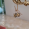 SOLD! - (ANTIQUE) Rare Gorgeous Victorian Floral Flower Natural Garnet Gemstone 14K 14CT Rose Gold Etched Dangle Drop Earrings c.1838 One of a Kind Fine Jewelry