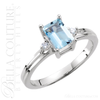 (NEW) BELLA COUTURE ® Halcyon 14K White Gold Genuine Aquamarine Diamond Ring