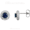 (NEW) Bella Couture Fine Sapphire & 3/8 CT Diamond 14k White Gold Earrings