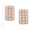 (NEW) Bella Couture CARA Gorgeous Brilliant Round 1/5CT Diamond 14k Rose Gold Rectangle Earrings