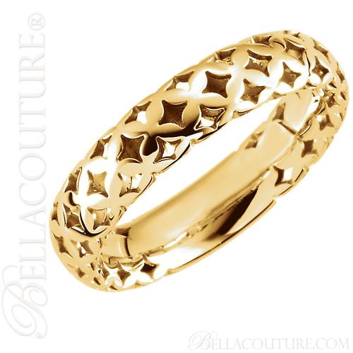 (NEW) BELLA COUTURE La VICTORIA Fine Gorgeous Wide Filigree Open Sculptural Open Filigree 14K Yellow Gold Ring Band (Size 7)