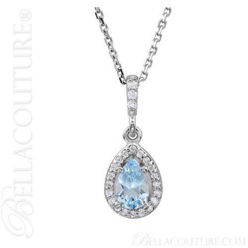"(NEW) BELLA COUTURE GORGEOUS FINE AQUAMARINE DIAMOND 14K WHITE GOLD PENDANT NECKLACE (18"" Inches)"
