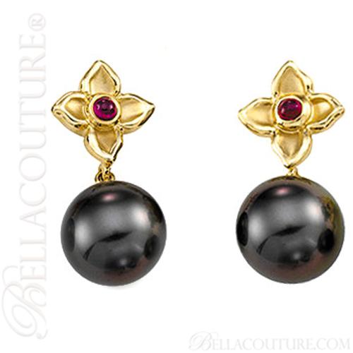 (NEW) BELLA COUTURE MINNA Fine Tahitian Cultured Pearl Ruby 14K Yellow Gold Dangle Drop Earrings