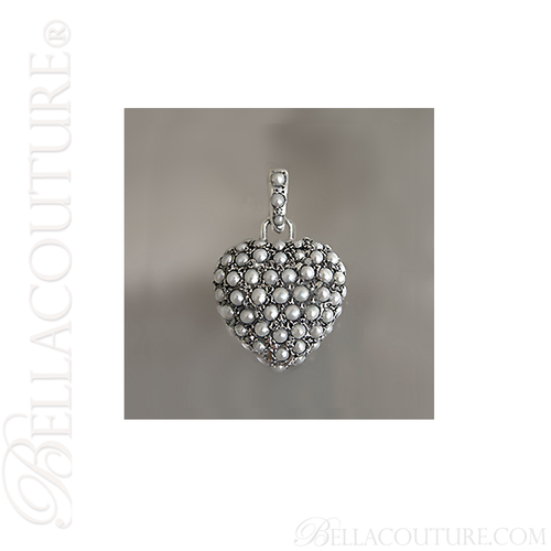 (VINTAGE) Rare Fine Victorian Inspired Sterling Silver Pave Seed Pearl Heart Charm Pendant