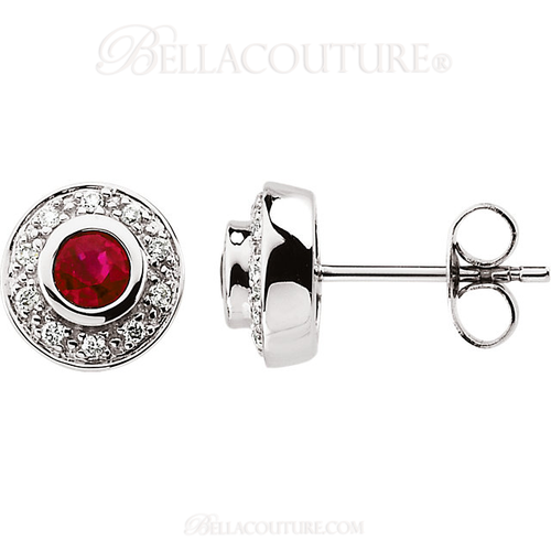 (NEW) BELLA COUTURE BESSA Fine 1/10 CT TW Diamond & Ruby Earrings