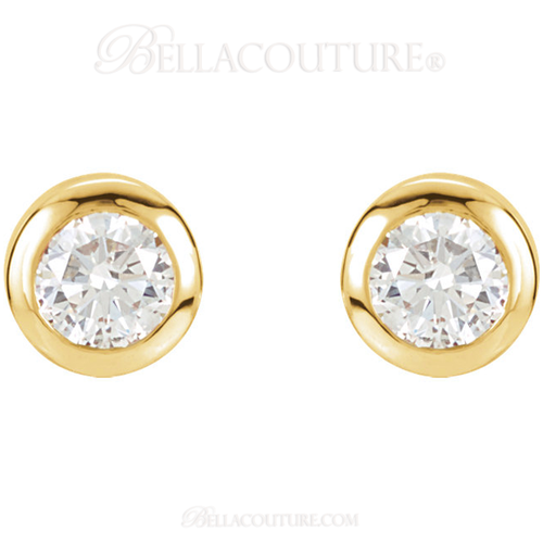 (NEW) Bella Couture Fine 1/2 CT Diamond 14k Yellow Gold Classic Stud Earrings