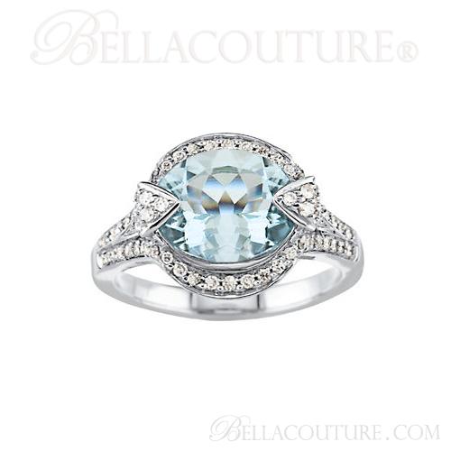 (NEW) BELLA COUTURE HAMPTON Collection Gorgeous Brilliant Aquamarine & 1/2CT Diamond 14K White Gold Ring (11x9mm)