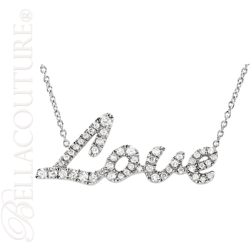"""(NEW) BELLA COUTURE LOVE LETTERS Gorgeous 1/5 CT Pave' Diamond 14K White Gold Chain Necklace (18"""" Inches in Length)"""