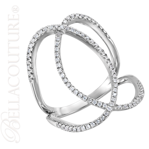 (NEW) BELLA COUTURE HARLOW Fine Elegant 3/8CT Diamond 14K White Gold Ring