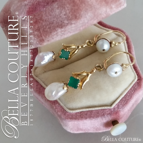 SOLD! - (ANTIQUE) Rare Exquisite Georgian French Genuine Emerald Gemstone South Sea Pearl 18K 18CT Solid Yellow Gold Dangle Drop Chandelier Earrings c. mid 1700