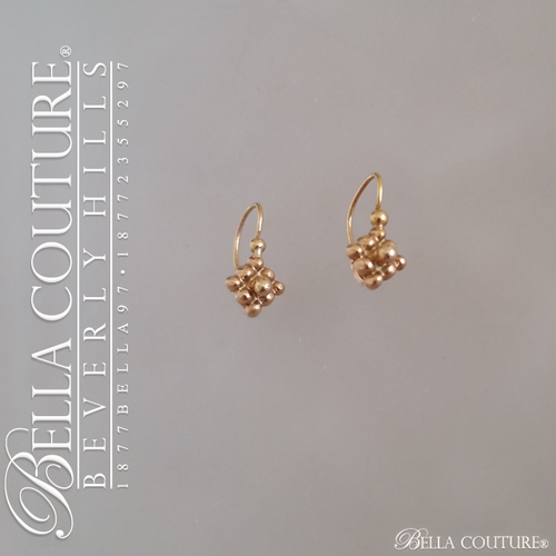SOLD! - (ANTIQUE) Gorgeous Victorian Rare Dainty & Petite 18K Rose Gold Floral Flower Beaded Diamond Cluster Earrings c. 1838