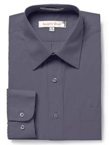BENEFIT WEAR Men's Dress Shirt with Velcro® Brand Closure-Long Sleeve, Grey