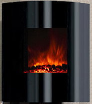 DFS-G2 Helix Electric Fireplace with convex, curved modern lines.  Heater and fireplace with remote control.