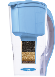 Water passes through pre 5-micron and post 1-micron filter pads (1 micron equals 1/25,000th of an inch), which remove suspended particles, cysts, (Giardia, Cryptospordium), sand, rust, dirt and other undissolved matter. Eagle Redox Alloy® 6500, and Eagle Redox Alloy® 9500 reduce iron mercury, copper, nickel, chromium, cadmium, aluminum, lead, other dissolved metals and hydrgen sulfide, and inhibits bacterial growth, algae, fungi, scale, and other microorganisms. The ion exchange resin reduces heavy metals such as lead, copper, aluminum, and water hardness. A blend of coconut shell carbon and catalytic carbon which addresses chlorine and chloramines, bad tastes and odors, reduces pesticides (lindane, atrazine and 2,4-D) and chemicals that are linked to cancer risk (benzene, THMs and toxaphene).