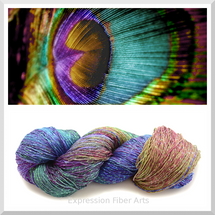 PEACOCK FEATHER SPARKLE SILK FINGERING
