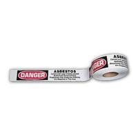 "White Asbestos Barricade Tape w/Warning 3""x1000'"