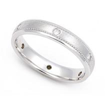 Pav' set Diamond Semi Eternity Milgrain Ring (1/10 ct.)
