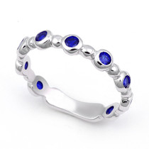 Bezel set Blue Sapphire Bubble Ring