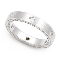 Bezel set Diamond Semi Eternity Heart Edge Ring (1/7 ct.)