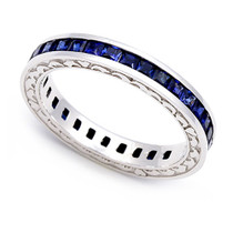 Channel set Blue Sapphire Heart Edge Eternity Ring