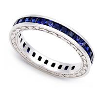 Channel set Blue Sapphire Heart Edge Eternity Ring