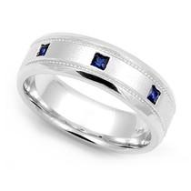 Bezel set Blue Sapphire Milgrain Ring