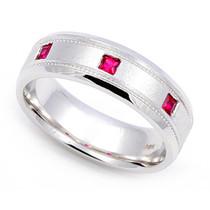 Bezel set Ruby Milgrain Ring