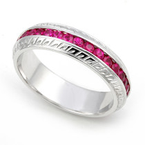 Channel set Ruby Carved Eternity Ring