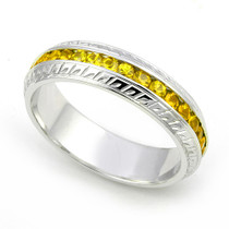 Channel set Yellow Sapphire Carved Eternity Ring
