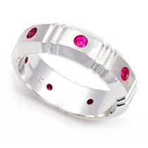 Bezel set Ruby Semi Eternity Ring