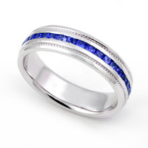 Channel set Blue Sapphire Eternity Milgrain Ring 5mm