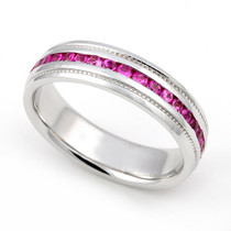 Channel set Pink Sapphire Eternity Milgrain Ring