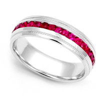 Channel set Ruby Eternity Milgrain Ring