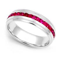 Channel set Ruby Eternity Milgrain Ring